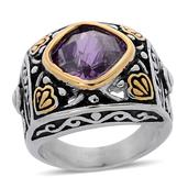 Simulated Purple Sapphire ION Plated YG and Stainless Steel Ring (Size 6.0)