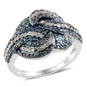 Blue Diamond (IR), Diamond Platinum Over Sterling Silver Ring (Size 10.0) TDiaWt 0.33 cts, TGW 0.330 cts.
