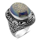 Bali Legacy Collection Pearl Shimmer Drusy Quartz Sterling Silver Ring (Size 7.0) TGW 14.040 cts.