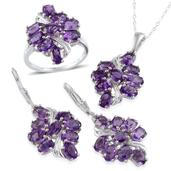 African Amethyst (Ovl) Set Ring (Size 8), Lever Back Earrings and Pendant With Chain (20 in) in Platinum Overlay Sterling Silver Nickel Free TGW 7.50 Cts.