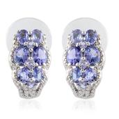 Tanzanite (Ovl) J-Hoop Earrings in Platinum Overlay Sterling Silver Nickel Free TGW 2.71 Cts.