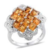 Santa Ana Madeira Citrine, Diamond Platinum Over Sterling Silver Ring (Size 7) TDiaWt 0.01 cts, TGW 3.906 cts.