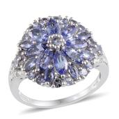 Tanzanite, Diamond Platinum Over Sterling Silver Ring (Size 8.0) TDiaWt 0.02 cts, TGW 3.420 cts.
