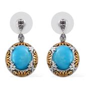 Arizona Sleeping Beauty Turquoise, Catalina Iolite 14K YG and Platinum Over Sterling Silver Earrings TGW 8.050 cts.