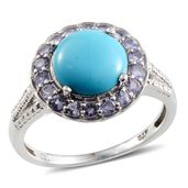 Arizona Sleeping Beauty Turquoise, Tanzanite Platinum Over Sterling Silver Ring (Size 9.0) TGW 2.900 cts.