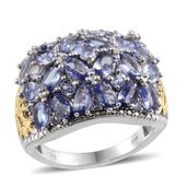 Tanzanite, Diamond Platinum Over Sterling Silver Ring (Size 8.0) TDiaWt 0.03 cts, TGW 7.210 cts.