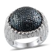 Blue Diamond (IR), Diamond Platinum Over Sterling Silver Dome Ring (Size 10.0) TDiaWt 0.50 cts, TGW 0.500 cts.