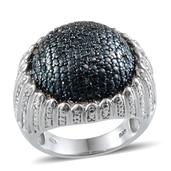 Blue Diamond (IR), Diamond Platinum Over Sterling Silver Dome Ring (Size 6.0) TDiaWt 0.50 cts, TGW 0.500 cts.