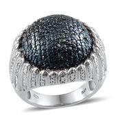 Blue Diamond (IR), Diamond Platinum Over Sterling Silver Dome Ring (Size 8.0) TDiaWt 0.50 cts, TGW 0.500 cts.