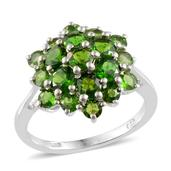 Russian Diopside Platinum Over Sterling Silver Ring (Size 9.0) TGW 4.56 cts.