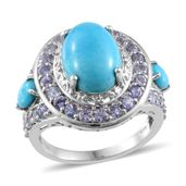 Arizona Sleeping Beauty Turquoise, Tanzanite Platinum Over Sterling Silver Ring (Size 8.0) TGW 8.65 cts.