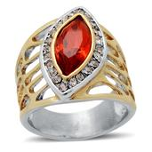 Orange Glass, White Austrian Crystal Ring in ION Plated YG and Stainless Steel (Size 8) TGW 0.002 cts.
