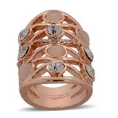 Simulated Cats Eye Pink, White Austrian Crystal Ring in Rosetone (Size 8) TGW 0.002 cts.