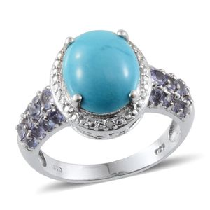 Arizona Sleeping Beauty Turquoise, Tanzanite, Diamond Platinum Over Sterling Silver Ring (Size 8.0) TDiaWt 0.01 cts, TGW 4.610 cts.