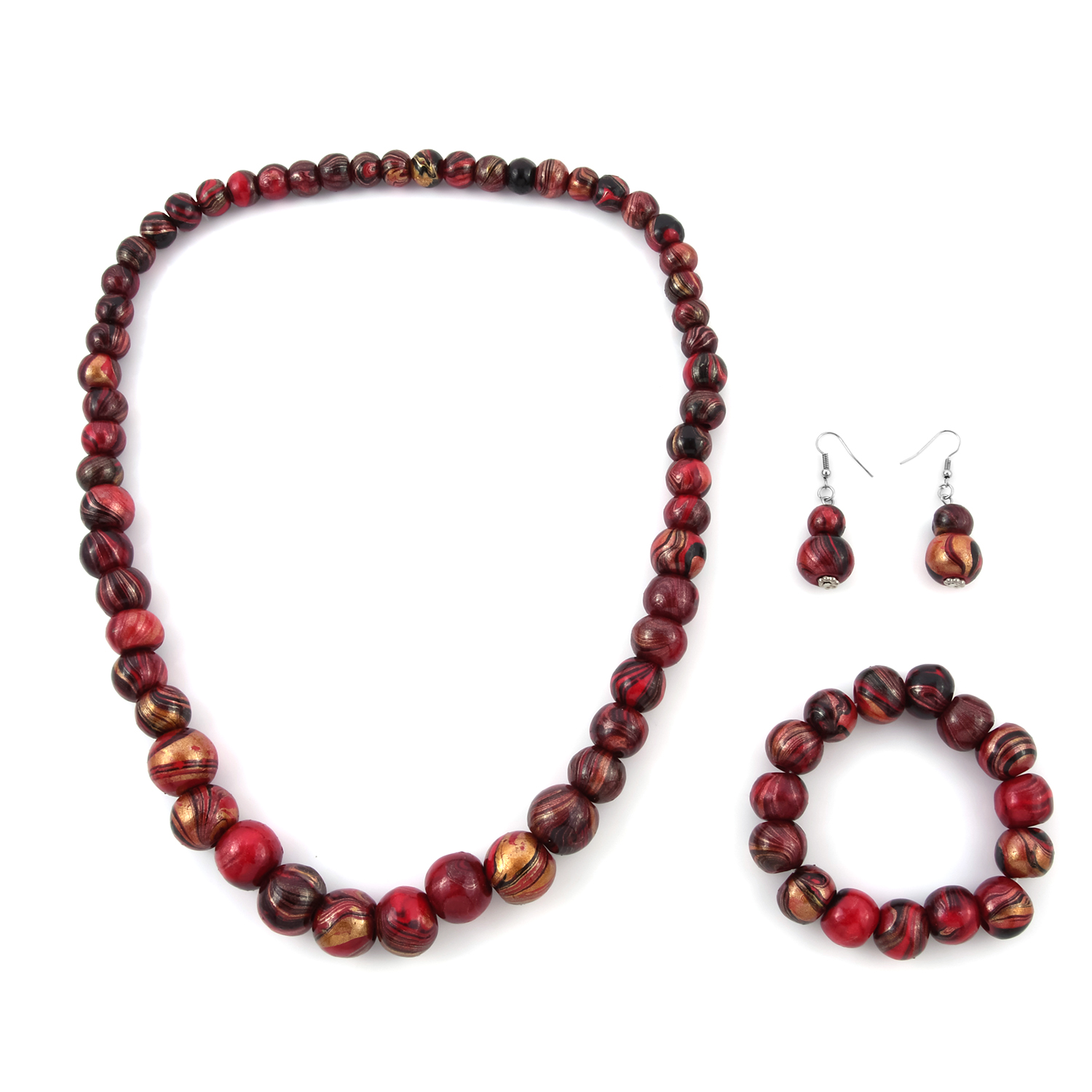 Fuchsia Wooden Beads Silvertone Necklace (28 in), Bracelet (Stretchable) and Earrings