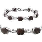 Natural Silver Sapphire Platinum Over Sterling Silver Bracelet (7.50 In) TGW 33.700 cts.