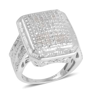 Diamond Platinum Over Sterling Silver Ring (Size 5.0) TDiaWt 0.50 cts, TGW 0.500 cts.