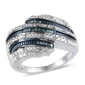 Blue Diamond (IR), Diamond Platinum Over Sterling Silver Bypass Ring (Size 7.0) TDiaWt 0.33 cts, TGW 0.330 cts.