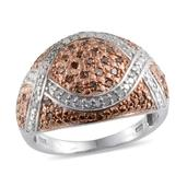 Champagne Diamond, Diamond Platinum Over Sterling Silver Ring (Size 9.0) TDiaWt 0.50 cts, TGW 0.50 cts.