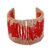 Free Gift Red Glass, Glass Goldtone Cuff (7.5 in)