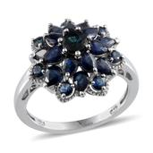 Kanchanaburi Blue Sapphire Platinum Over Sterling Silver Fancy Flower Ring (Size 7) TGW 3.810 cts.