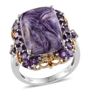 Siberian Charoite, Amethyst 14K YG and Platinum Over Sterling Silver Ring (Size 7.0) TGW 14.050 cts.