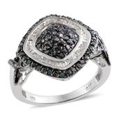 Blue Diamond (IR), Diamond Platinum Over Sterling Silver Ring (Size 7.0) TDiaWt 0.50 cts, TGW 0.500 cts.