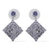Tanzanite Platinum Over Sterling Silver Earrings TGW 6.150 cts.
