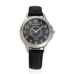 STRADA Japanese Movement Watch with Stainless Steel Back and Black Band