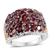 Orissa Rhodolite Garnet, Diamond 14K YG and Platinum Over Sterling Silver Ring (Size 5.0) TDiaWt 0.03 cts, TGW 6.860 cts.