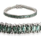 Indian Ocean Apatite, Diamond Platinum Over Sterling Silver Bracelet (7.50 In) TDiaWt 0.02 cts, TGW 10.580 cts.