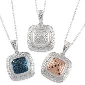 Multi Color Diamond (IR) Platinum Over Sterling Silver Set of 3 Pendants With Chains (20 in) TDiaWt 0.505Cts., TGW 0.50 Cts.