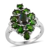 Canadian Ammolite, Russian Diopside, Diamond Platinum Over Sterling Silver Ring (Size 8) TDiaWt 0.01 cts, TGW 5.160 cts.