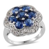 Himalayan Kyanite (Rnd), White Topaz Ring in Platinum Overlay Sterling Silver Nickel Free (Size 7) TGW 6.15 Cts.