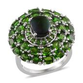 Canadian Ammolite, Russian Diopside Platinum Over Sterling Silver Ring (Size 7.0) TGW 7.550 cts.