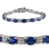 Himalayan Kyanite (Ovl), White Topaz Bracelet in Platinum Overlay Sterling Silver Nickel Free (7.25 in) TGW 19.00 Cts.