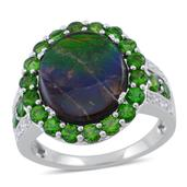 Canadian Ammolite, Russian Diopside, White Topaz Sterling Silver Ring (Size 10.0) TGW 6.130 cts.