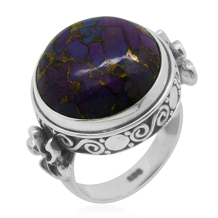 Bali Legacy Collection Mojave Purple Turquoise (Rnd) Ring in Sterling Silver Nickel Free (Size 7) TGW 13.860 cts.