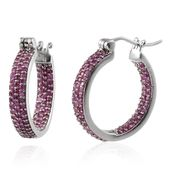 Pink Sapphire Platinum Over Sterling Silver Hoop Earrings TGW 2.00 Cts.