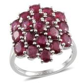 Niassa Ruby Platinum Over Sterling Silver Cluster Ring (Size 6.0) TGW 10.650 cts.