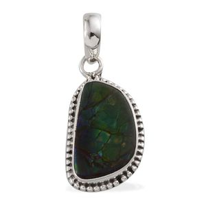 Artisan Crafted Canadian Ammolite Pendant without Chain in Sterling Silver TGW 9.31 Cts.