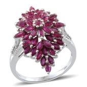 Niassa Ruby, Diamond Platinum Over Sterling Silver Ring (Size 9.0) TDiaWt 0.01 cts, TGW 5.080 cts.