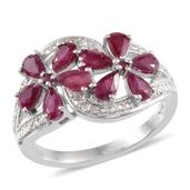 Ruby, Diamond Platinum Over Sterling Silver Ring (Size 6) TDiaWt 0.01 cts, TGW 2.170 cts.