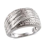Diamond Platinum Over Sterling Silver Ring (Size 8.0) TDiaWt 0.25 cts, TGW 0.250 cts.