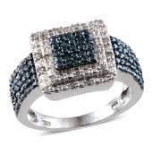 Blue Diamond (IR), Diamond Platinum Over Sterling Silver Ring (Size 9.0) TDiaWt 0.33 cts, TGW 0.330 cts.