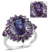 Lavender Alexite, Amethyst Platinum Over Sterling Silver Ring (Size 10.0) TGW 7.500 cts.