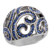 Blue Austrian Crystal Ring in Stainless Steel (Size 6)