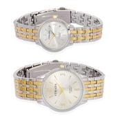 STRADA Japanese Movement His and Hers Watch Set in ION Plated YG and Stainless Steel