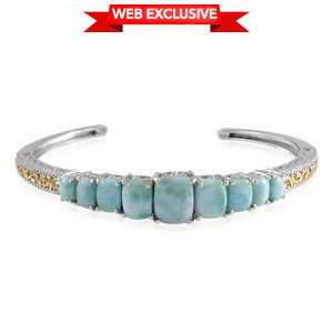 Larimar, Diamond 14K YG and Platinum Over Sterling Silver Cuff TDiaWt 0.01 cts, TGW 15.810 cts.