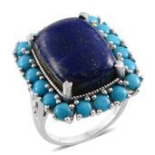 Lapis Lazuli, Arizona Sleeping Beauty Turquoise Platinum Over Sterling Silver Ring (Size 8.0) TGW 25.850 cts.